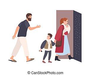 famille, divorce., maison, haut., époux, rupture, père, malheureux, entre, conflit, plat, relation, mariage, reste, enfants, dessin animé, illustration., feuilles, vecteur, mère, problème, parents., alone.