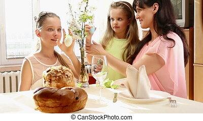 famille, egg., pendre, enfant, paques, heureux
