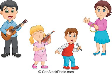 famille, ensemble, dessin animé, musique, jouer, heureux