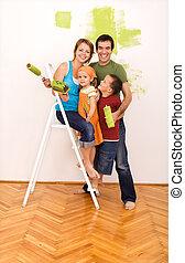 famille, ensemble, leur, nouvelle maison, peinture, heureux