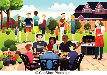 famille, ensemble, rassembler, avoir, été, amis, griller parti