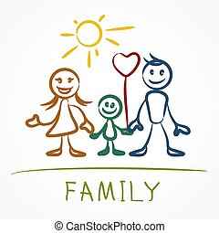 famille, figure bâton, heureux