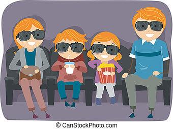 famille, film regardant, 4d, ou, 3d