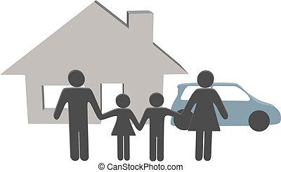 famille, gens, maison, symboles, voiture, maison