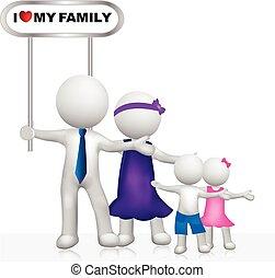 famille, gens, signe, logo, blanc, 3d