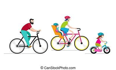 famille, gens, vacances, parc, bicycles, actif, équitation