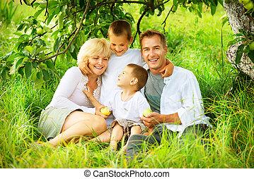 famille, grand, dehors, amusement, avoir, heureux