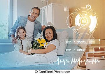 famille, hôpital, moderne, portrait, sourire, agréable