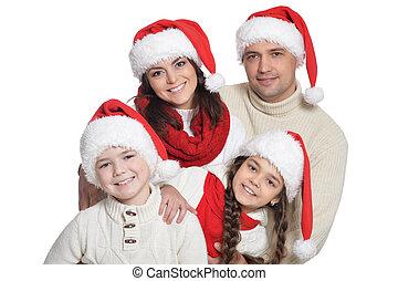 famille, haut, chapeaux, fin, gosses, portrait, santa