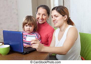 famille heureuse, achat internet