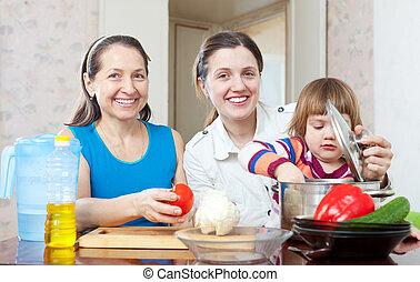 famille, heureux, cuisine
