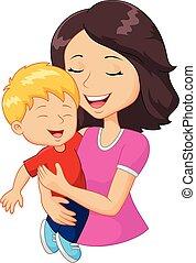 famille, heureux, dessin animé, tenue, mère