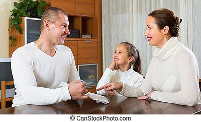 famille, heureux, documents