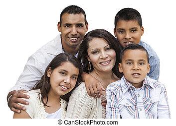 famille, hispanique, séduisant, portrait, blanc, heureux
