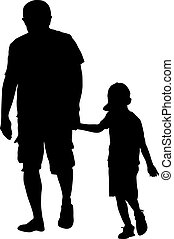 famille, illustration, arrière-plan., silhouettes, vecteur, noir, blanc