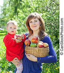famille, jardin, pommes