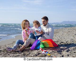 famille, jeune, automne, vecation, pendant, apprécier, jour