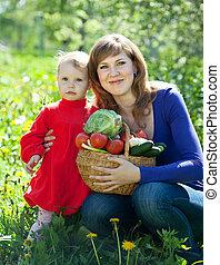 famille, légumes, jardin, heureux