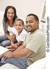 famille, mère, père, fils, américain, africaine, heureux