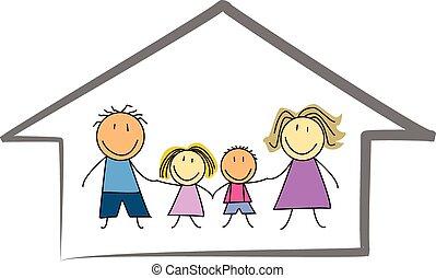 famille, maison, /, maison, enfants, heureux