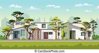 famille, maison, moderne, trois, illustration, arbres