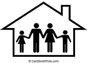 famille, maison, sûr, parents, maison, enfants, heureux