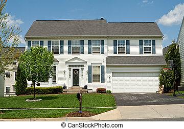 famille, maison, suburbain, unique, prendre parti, maryland, u, vinyle, devant, maison
