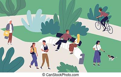 famille, minuscule, illustration., récréatif, dépenser, plat, temps, ensemble, marche, urbain, vecteur, activité, vélo, décontracté, équitation, apprécier, couple, parc, femme, été, conversation, homme, extérieur, gens