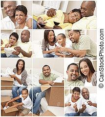 famille, montage, couple, américain, africaine, maison