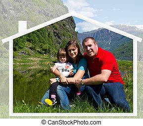 famille, nature, ensemble, temps, spends, heureux