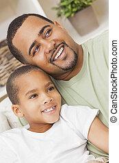 famille, père, fils, américain, africaine, heureux