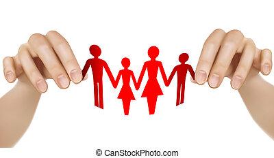 famille, papier, mains