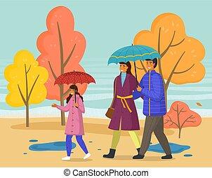 famille, parapluie, marche, parc, saison, automne, imperméables, ville, pluie, porter