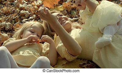 famille, parc, automne, mère, enfants, heureux