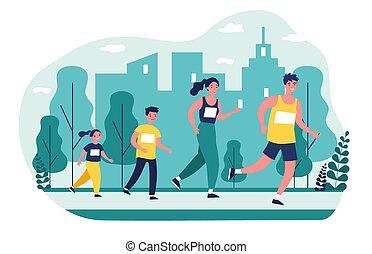 famille, parc, jogging, ville
