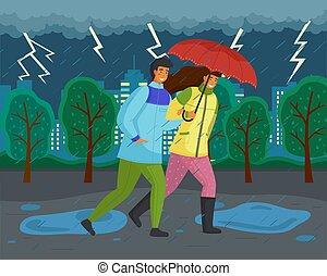 famille, parc, orage, ville, venteux, automne, nature., promenades, vent, éclair, arbres, temps