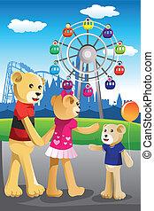 famille, parc, ours, amusement, avoir, amusement