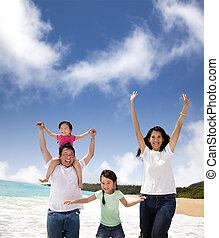 famille, plage, heureux