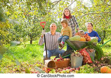 famille, récolte, jardin, heureux