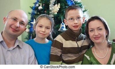famille, séance, arbre, noël, quatre, amical