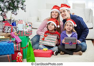 famille, séance, chapeaux, présente, santa, noël