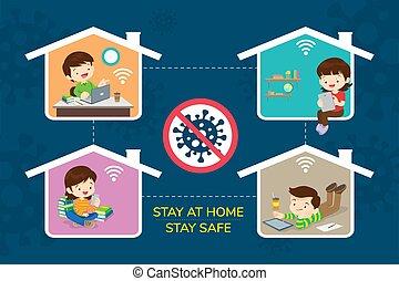 famille, sûr, maison, séjour