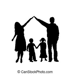 famille, silhouette