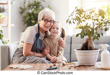famille, soucier, plants.