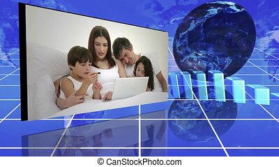 famille, suivant, statistiques, vidéos