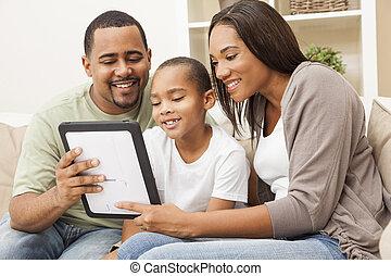 famille, tablette, américain, informatique, africaine, utilisation