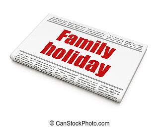 famille, titre, journal, vacances, tourisme, concept: