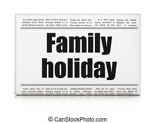 famille, titre, vacances, journal, vacances, concept: