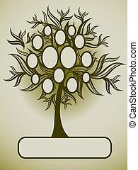 famille, vecteur, arbre, conception