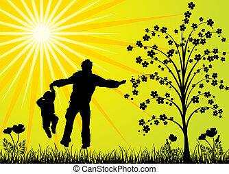 famille, vecteur, heureux